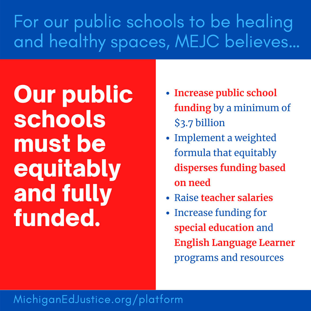 MEJC Platform - Our Schools must be equitably and fully funded